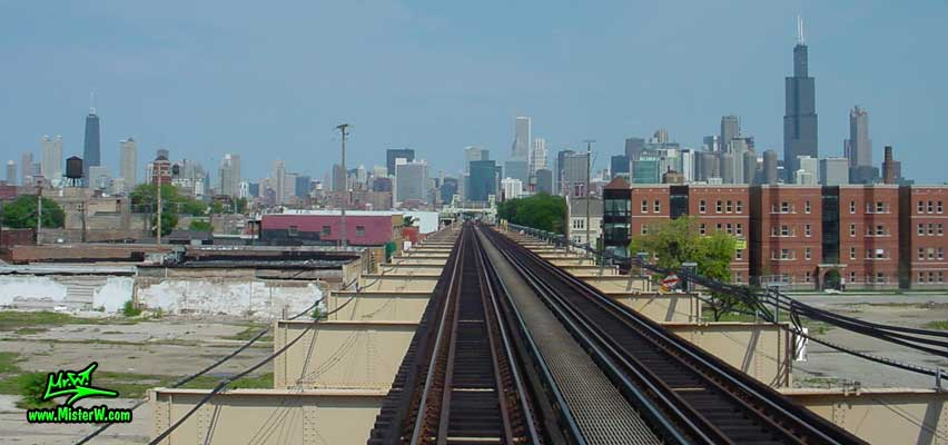 Photo of the skyscrapers of downtown Chicago, taken from a green line subway train, above Lake Street in summer 2004 John Hancock Center, Aon Center & the Sears Tower from the Subway