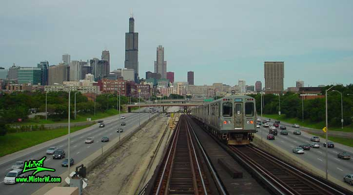Photo of a subway train, the Sears Tower & the 311 South Wacker building in downtown Chicago, taken from a subway train in summer 2004 Chicago Subway Train, Freeway, Sears Tower & the 311 South Wacker building