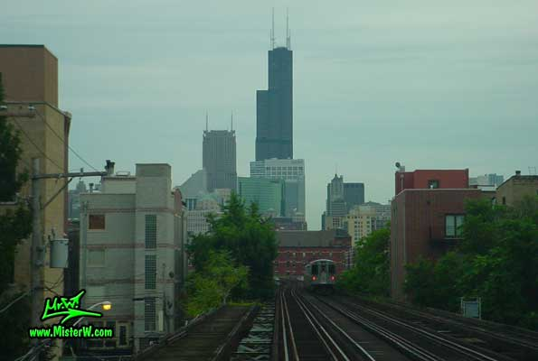 Photo of the Sears Tower, taken from a subway train close the Sedgwick Station in summer 2004 Sears Tower & Chicago Subway Line