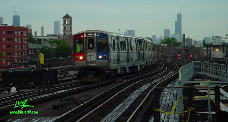 Photo of the Chicago skyline, taken from the Wilson Station (brown, purple subway lines) in summer 2004 Skyline of Downtown Chicago from Wilson Station