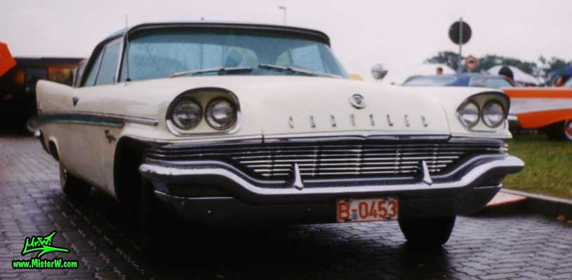 Photo of a white 1957 Chrysler New Yorker 2 Door Hardtop Coupe at a Classic Car Meeting in Germany. 1957 Chrysler New Yorker Front Grill