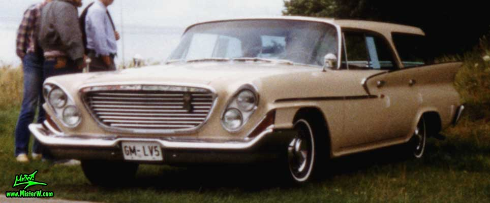 Photo of a tan 1961 Chrysler Newport 4 Door Hartop Station Wagon at a classic car meeting in Germany. 61 Chrysler Wagon