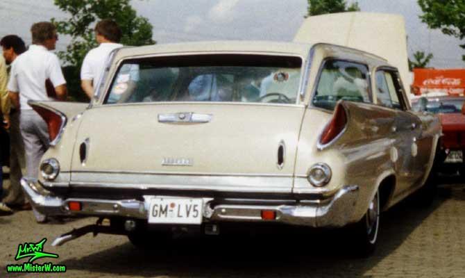 Photo of a tan 1961 Chrysler Newport 4 Door Hartop Station Wagon at a classic car meeting in Germany. 1961 Chrysler Newport Wagon Tail Lights