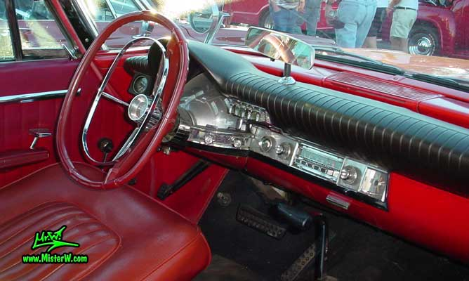 Photo of a red 1962 Chrysler 300 2 Door Hardtop Coupe at the Scottsdale Pavilions Classic Car Show in Arizona. 1962 Chrysler Dashboard