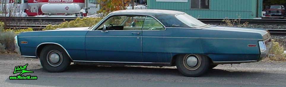 Photo of a blue 1970 Chrysler 2 Door Hardtop Coupe in Northern California. Sideview of a 1970 Chrysler Coupe