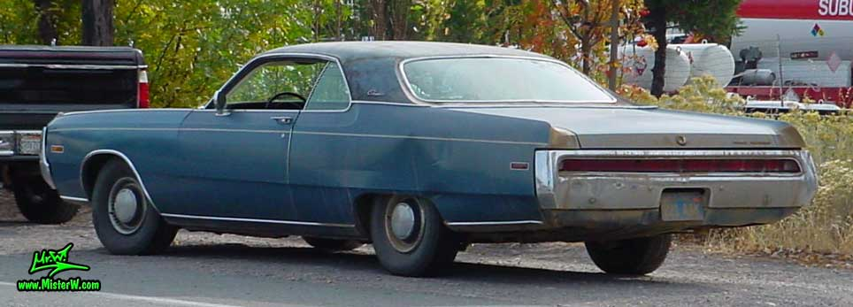 Photo of a blue 1970 Chrysler 2 Door Hardtop Coupe in Northern California. Rearview of a 1970 Chrysler Coupe