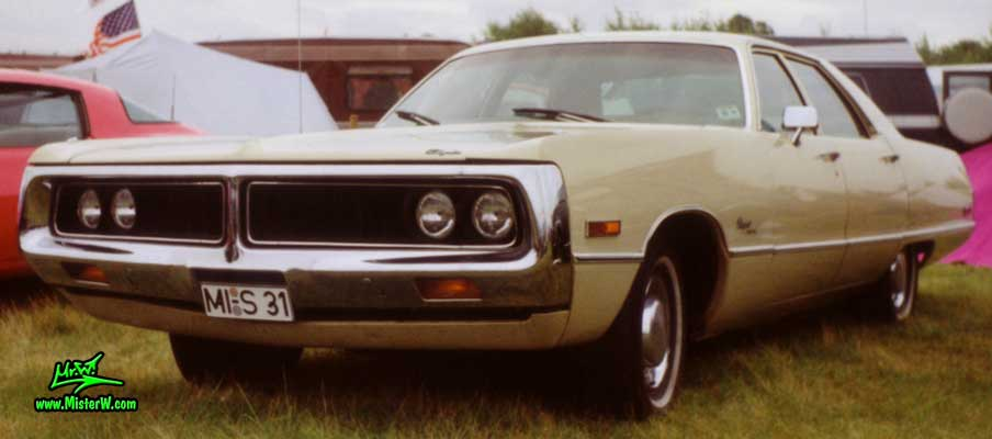 Photo of a beige 1972 Chrysler 4 Door Hardtop Sedan at a Classic Car Meeting in Germany. 1972 Chrysler Sedan