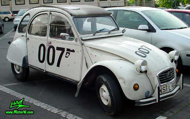 Photo of a white Citroen 2CV 4 Door Hardtop Sedan in Kassel, Germany. James Bond's Citroen 2CV