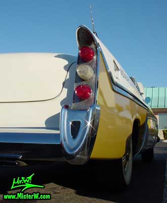Photo of a white & gold 1956 Chrysler DeSoto Convertible at the Scottsdale Pavilions Classic Car Show in Arizona. 1956 DeSoto Tail Lights