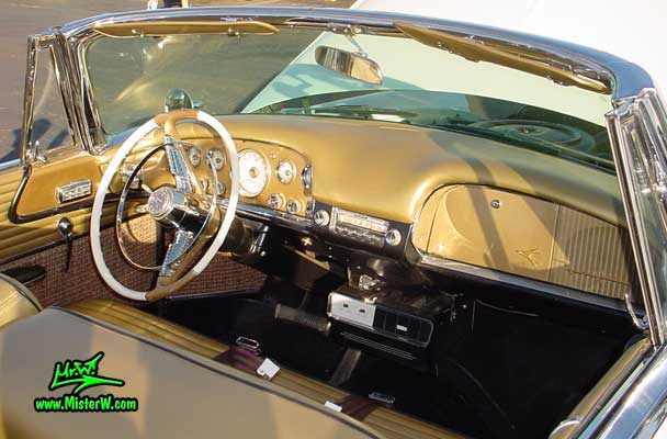 Photo of a white & gold 1956 Chrysler DeSoto Convertible at the Scottsdale Pavilions Classic Car Show in Arizona. Dash Board & Interior of a 1956 DeSoto Convertible