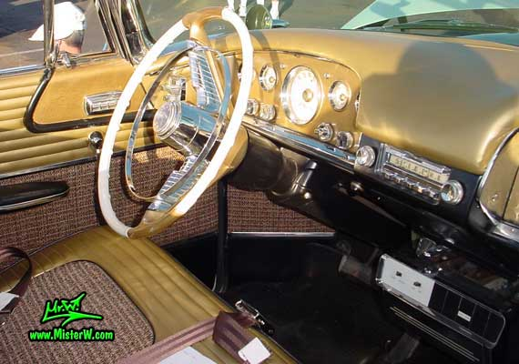 Photo of a white & gold 1956 Chrysler DeSoto Convertible at the Scottsdale Pavilions Classic Car Show in Arizona. 1956 DeSoto Odometer