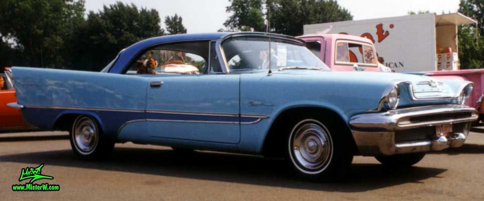 Photo of a blue 1957 Chrysler DeSoto 2 Door Hardtop Coupe at a Classic Car Meeting in Germany. 1957 DeSoto Coupe Sideview