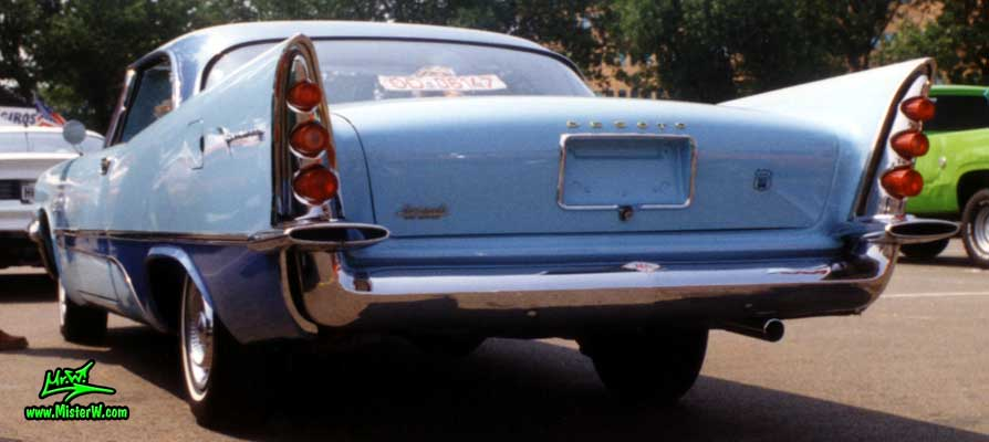 Photo of a blue 1957 Chrysler DeSoto 2 Door Hardtop Coupe at a Classic Car Meeting in Germany. 1957 DeSoto Coupe Rearview