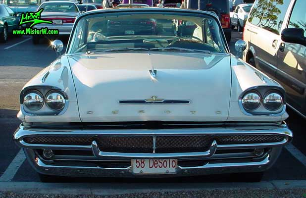 Photo of a white 1958 Chrysler DeSoto Firedome 2 Door Hardtop Coupe at the Scottsdale Pavilions Classic Car Show in Arizona. 1958 DeSoto Firedome Chrome Grill