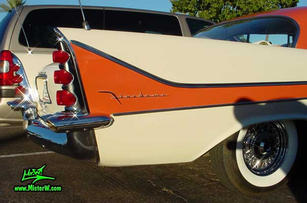 Photo of a white 1958 Chrysler DeSoto Firedome 2 Door Hardtop Coupe at the Scottsdale Pavilions Classic Car Show in Arizona. 1958 DeSoto Fin