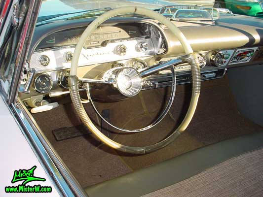 Photo of a white 1958 Chrysler DeSoto Firedome 2 Door Hardtop Coupe at the Scottsdale Pavilions Classic Car Show in Arizona. Dashboard of a 1958 DeSoto Firedome Coupe