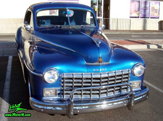 Photo of a blue metallic 1948 Dodge 3 Window Coupe at the Scottsdale Pavilions Classic Car Show in Arizona. 48 Dodge