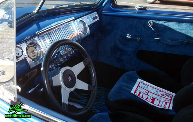 Photo of a blue metallic 1948 Dodge 3 Window Coupe at the Scottsdale Pavilions Classic Car Show in Arizona. 1948 Dodge 3 Window Coupe Interior