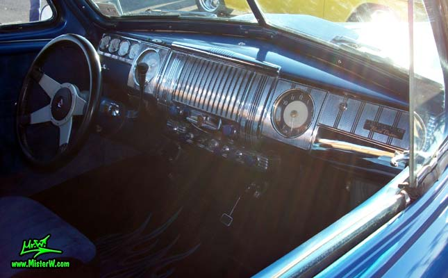 Photo of a blue metallic 1948 Dodge 3 Window Coupe at the Scottsdale Pavilions Classic Car Show in Arizona. 1948 Dodge 3 Window Coupe Dashboard