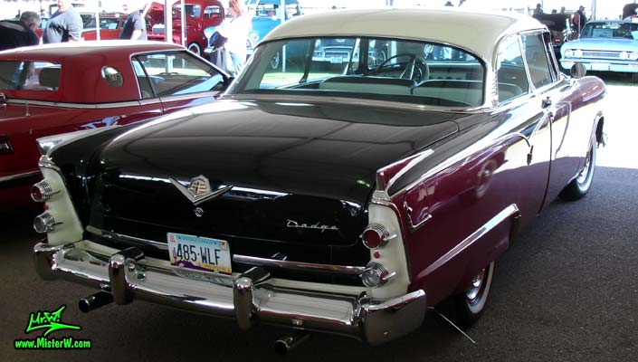 Photo of a Black, Purple & White 1955 Dodge Custom Royal Lancer 2 Door Hardtop Coupe at a Classic Car Auction in Scottsdale, Arizona. 55 Dodge Custom Royal Lancer Coupe Tailfins