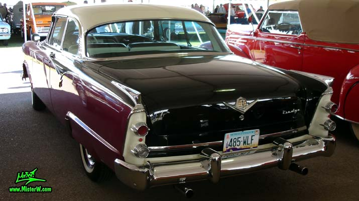 Photo of a Black, Purple & White 1955 Dodge Custom Royal Lancer 2 Door Hardtop Coupe at a Classic Car Auction in Scottsdale, Arizona. Rearview of a 1955 Dodge Custom Royal Lancer Coupe