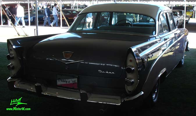 Photo of a white, pink & charcoal grey 1956 Chrysler Dodge Royal 4 Door Sedan at a Classic Car Auction in Scottsdale, Arizona. 1956 Dodge