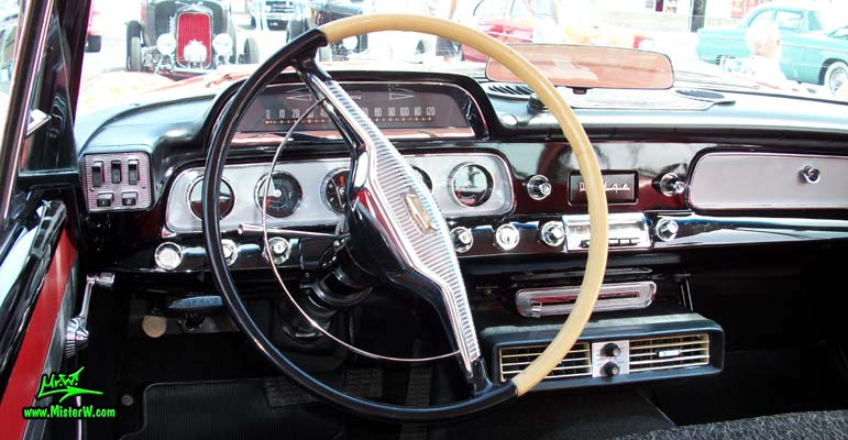Photo of a red & white 1958 Chrysler Dodge Coronet 2 Door Hardtop Coupe at the Scottsdale Pavilions Classic Car Show in Arizona. 1958 Dodge Coronet Speedometer