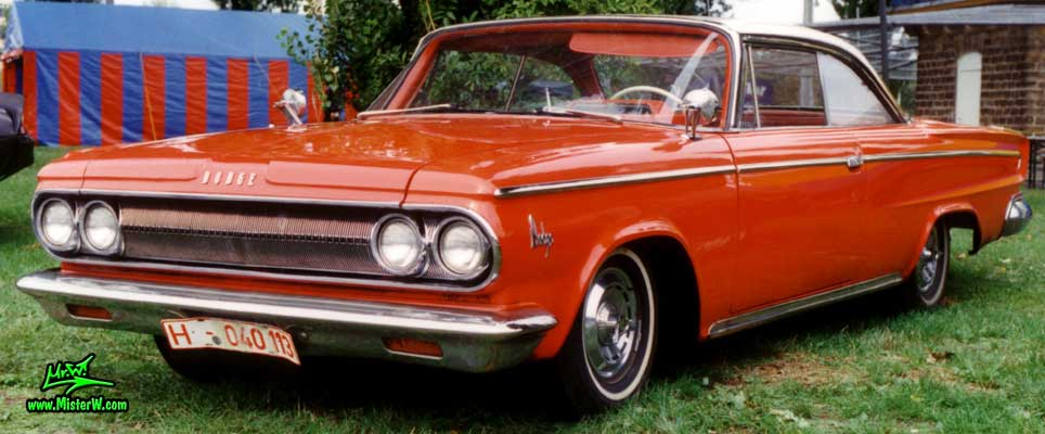 Photo of a red 1963 Dodge 2 Door Hardtop Coupe at a Classic Car Meeting in Germany. 63 Dodge