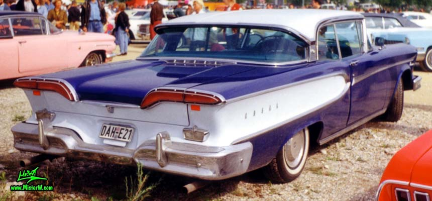 Photo of a blue & white 1958 Edsel Corsair 2 Door Hardtop Coupe at a Classic Car Meeting in Germany. 1958 Edsel Corsair Rearview