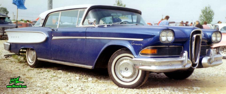 Photo of a blue & white 1958 Edsel Corsair 2 Door Hardtop Coupe at a Classic Car Meeting in Germany. 1958 Edsel Corsair Frontview