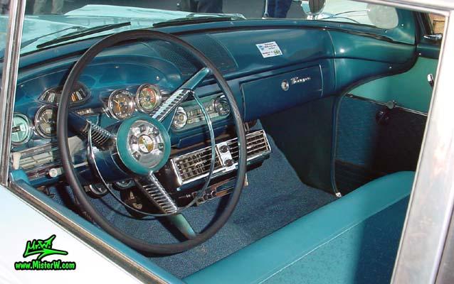Photo of a turquoise & white 1958 Edsel Ranger 2 Door Sedan at the Scottsdale Pavilions Classic Car Show in Arizona. 1958 Edsel Ranger Dash Board