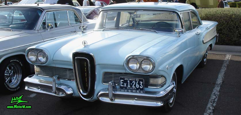 Photo of a turquoise & white 1958 Edsel Ranger 4 Door Sedan at the Scottsdale Pavilions Classic Car Show in Arizona. 1958 Edsel Frontview