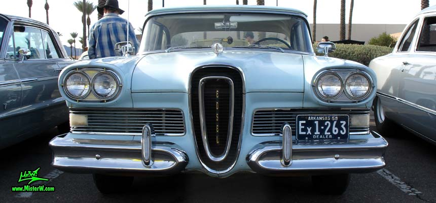 Photo of a turquoise & white 1958 Edsel Ranger 4 Door Sedan at the Scottsdale Pavilions Classic Car Show in Arizona. 1958 Edsel