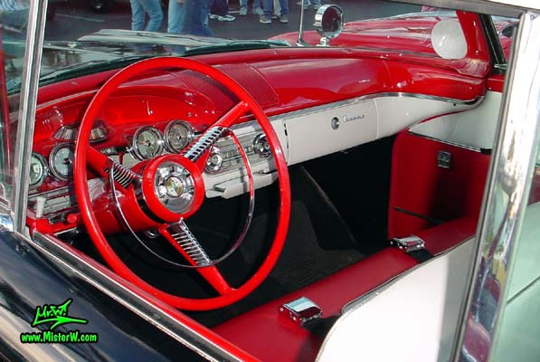Photo of a black & red 1958 Edsel Ranger 2 Door Convertible at the Scottsdale Pavilions Classic Car Show in Arizona. 1958 Edsel Ranger Convertible Dashboard & Interior