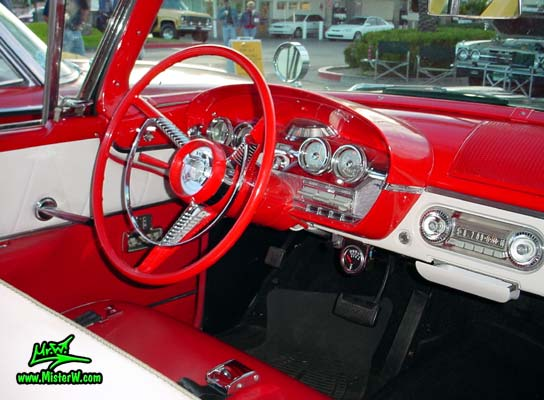 Photo of a black & red 1958 Edsel Ranger 2 Door Convertible at the Scottsdale Pavilions Classic Car Show in Arizona. 1958 Edsel Ranger Convertible Dash Board