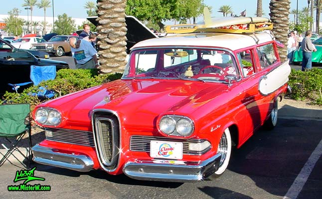 Photo of a red & white 1958 Edsel Roundup 2 Door Station Wagon at the Scottsdale Pavilions Classic Car Show in Arizona. 1958 Edsel Wagon