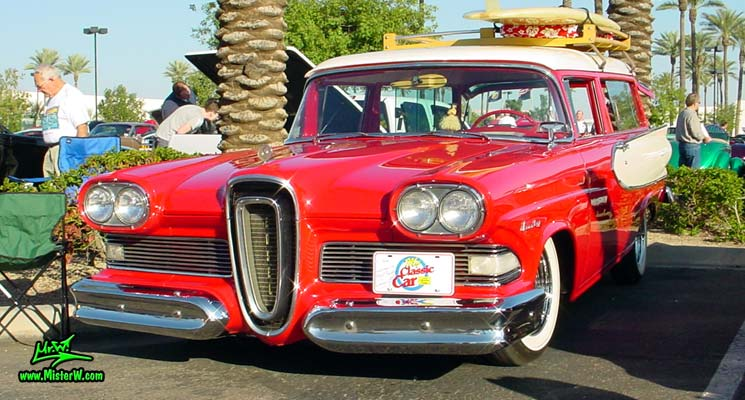 Photo of a red & white 1958 Edsel Roundup 2 Door Station Wagon at the Scottsdale Pavilions Classic Car Show in Arizona. 1958 Edsel Roundup