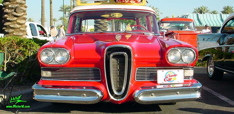 Photo of a red & white 1958 Edsel Roundup 2 Door Station Wagon at the Scottsdale Pavilions Classic Car Show in Arizona. 1958 Edsel Stationwagon