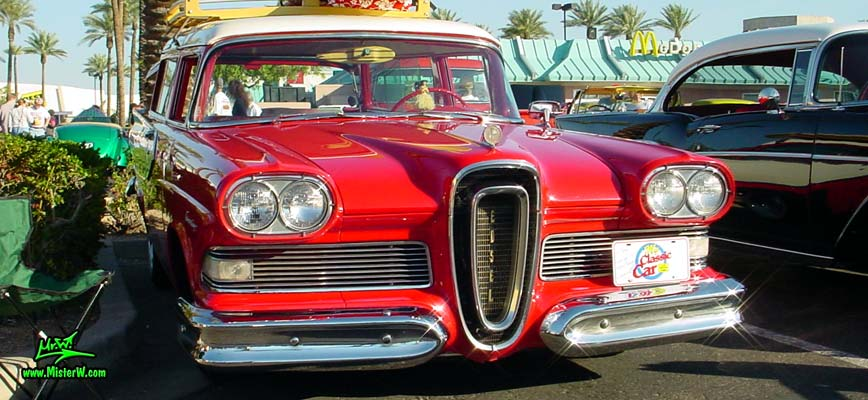 Photo of a red & white 1958 Edsel Roundup 2 Door Station Wagon at the Scottsdale Pavilions Classic Car Show in Arizona. 1958 Edsel 2 Door Wagon