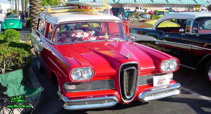 Photo of a red & white 1958 Edsel Roundup 2 Door Station Wagon at the Scottsdale Pavilions Classic Car Show in Arizona. 1958 Edsel Roundup Station Wagon Frontview