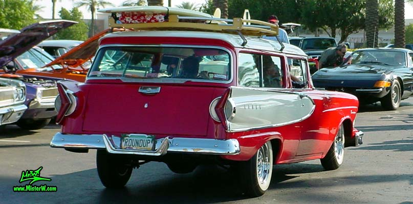 Photo of a red & white 1958 Edsel Roundup 2 Door Station Wagon at the Scottsdale Pavilions Classic Car Show in Arizona. 1958 Edsel Roundup Station Wagon Rearview