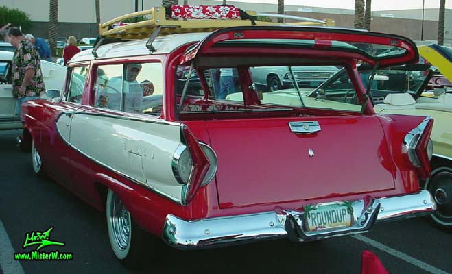 Photo of a red & white 1958 Edsel Roundup 2 Door Station Wagon at the Scottsdale Pavilions Classic Car Show in Arizona. 1958 Edsel Roundup Station Wagon Tail Gate