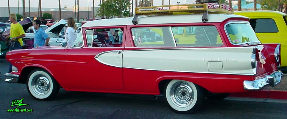 Photo of a red & white 1958 Edsel Roundup 2 Door Station Wagon at the Scottsdale Pavilions Classic Car Show in Arizona. 1958 Edsel Roundup Station Wagon Sideview