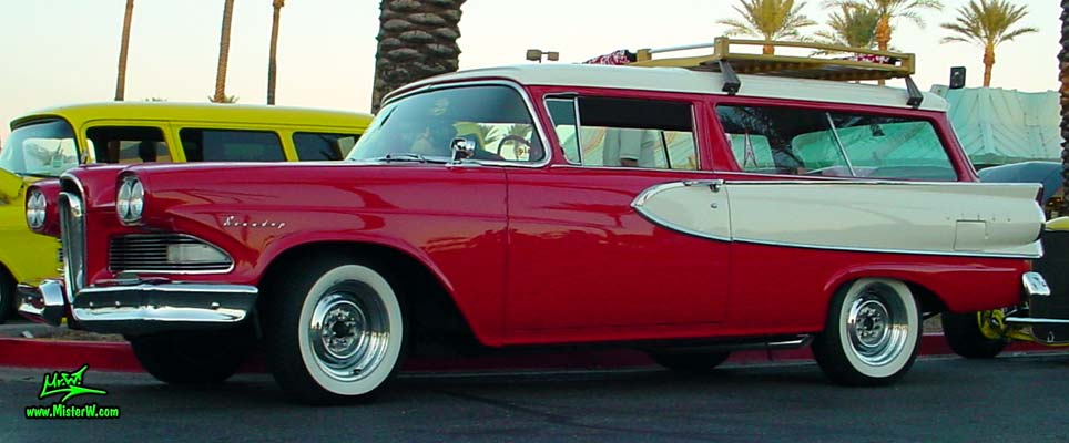 Photo of a red & white 1958 Edsel Roundup 2 Door Station Wagon at the Scottsdale Pavilions Classic Car Show in Arizona. 1958 Edsel 2 Door Station Wagon