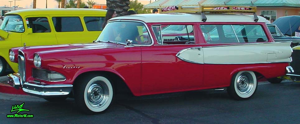 Photo of a red & white 1958 Edsel Roundup 2 Door Station Wagon at the Scottsdale Pavilions Classic Car Show in Arizona. 1958 Edsel Roundup Wagon