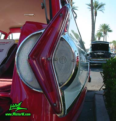 Photo of a red & white 1958 Edsel Roundup 2 Door Station Wagon at the Scottsdale Pavilions Classic Car Show in Arizona. 1958 Edsel Roundup Station Wagon Tail Light Chrome