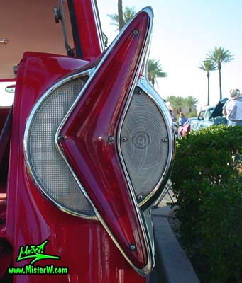 Photo of a red & white 1958 Edsel Roundup 2 Door Station Wagon at the Scottsdale Pavilions Classic Car Show in Arizona. 1958 Edsel Roundup Station Wagon Backup Light