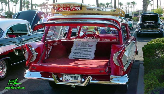 Photo of a red & white 1958 Edsel Roundup 2 Door Station Wagon at the Scottsdale Pavilions Classic Car Show in Arizona. 1958 Edsel Roundup Station Wagon with open Tail Gate