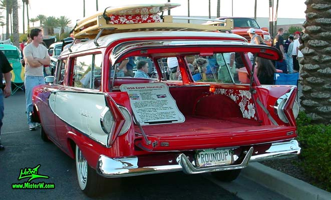 Photo of a red & white 1958 Edsel Roundup 2 Door Station Wagon at the Scottsdale Pavilions Classic Car Show in Arizona. 1958 Edsel Wagon with open Back Door