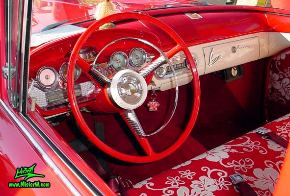 Photo of a red & white 1958 Edsel Roundup 2 Door Station Wagon at the Scottsdale Pavilions Classic Car Show in Arizona. 1958 Edsel Roundup Station Wagon Dash Board